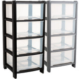 Strong 4 Drawer Deep Plastic Storage Tower 80 Litre In 2 Colours