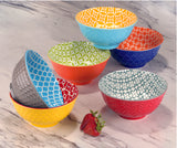 Microwave Decorative Design Coloured Patterned Porcelain Bowl 6 Piece Set