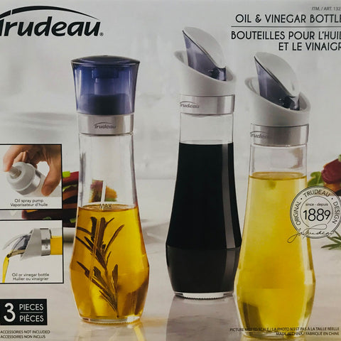 Trudeau Oil & Vinegar Bottles Set 3 in 1 Pour & Pump Spray Glass Bottles