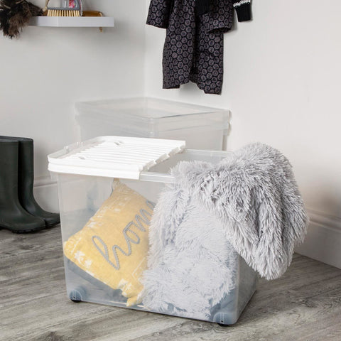 3 Pack Uni 80 Litre Wham Storage Box with Wheels & Folding Lid in Clear Plastic