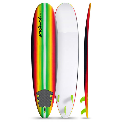 Classic 8ft Soft Crosslink Top Deck With Texture Grip Surfboard in Red & Green