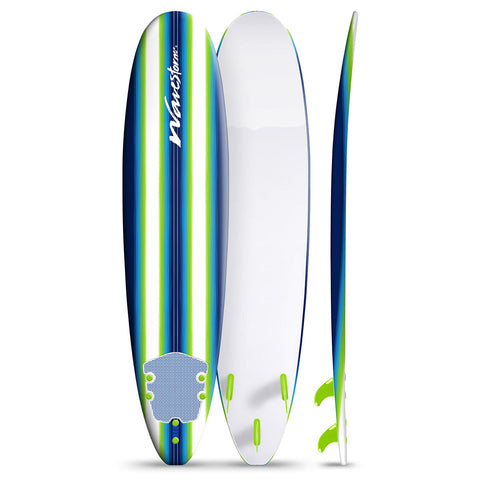 Classic 8ft Soft Crosslink Top Deck With Texture Grip Surfboard in White & Blue
