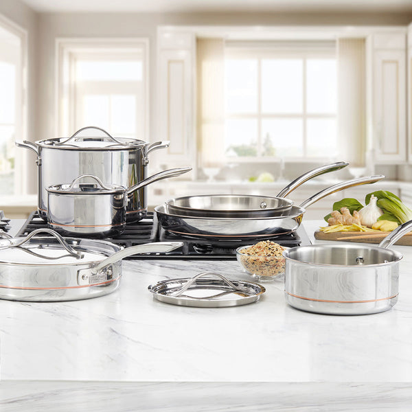 All Hob Types Fast Heating Multi Course Stainless Steel 10 Piece Cookware Sets