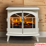 Cast Iron Styled Realistic LED Flame Fullerton Optiflame Electric Stove in Cream