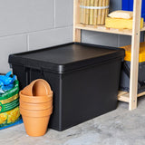 3 Pack Recycled Heavy Duty Plastic 62 Litre Wham Bam Storage Box & Lid in Black