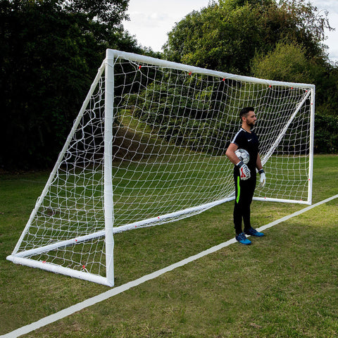 Q-Fold 16 x 7ft All Weather uPVC Super Durable Flexi Joint Folding Football Goal