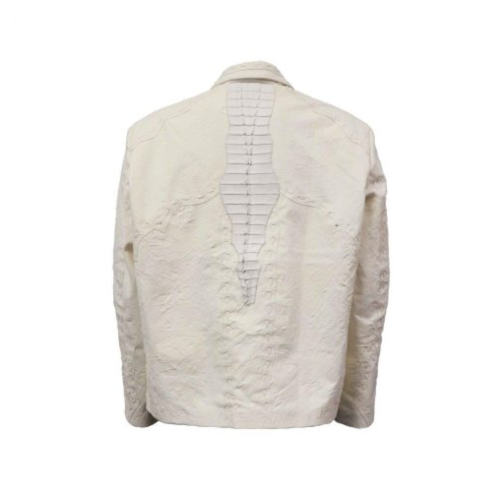 Safari Crocodile Lamb Jacket M White