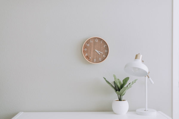 Clock on dorm room wall