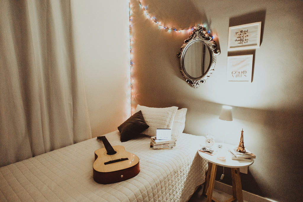 Decorated college dorm room