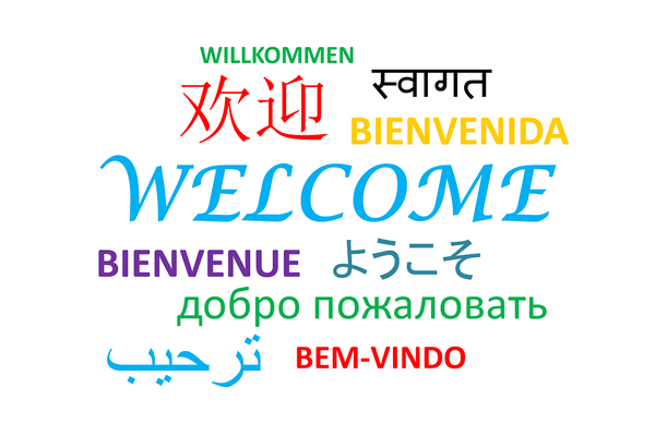 Different languages welcome text
