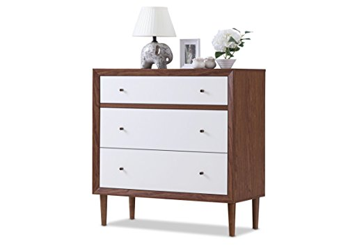 Harlow Mid-Century Wood 3 Drawer Chest - White and Walnut