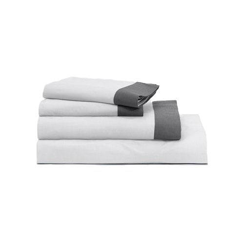 Casper Sleep Soft and Durable Supima Cotton Sheet Set, Twin XL, White/Slate
