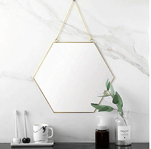 Small Gold Hexagon Hanging Wall Mirror