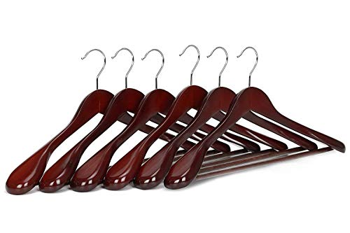 Wooden Suit Hangers for Coat and Pants, Walnut Finish, 6-Pack