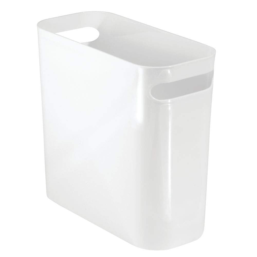 Slim Plastic Rectangular Trash Can with Handles