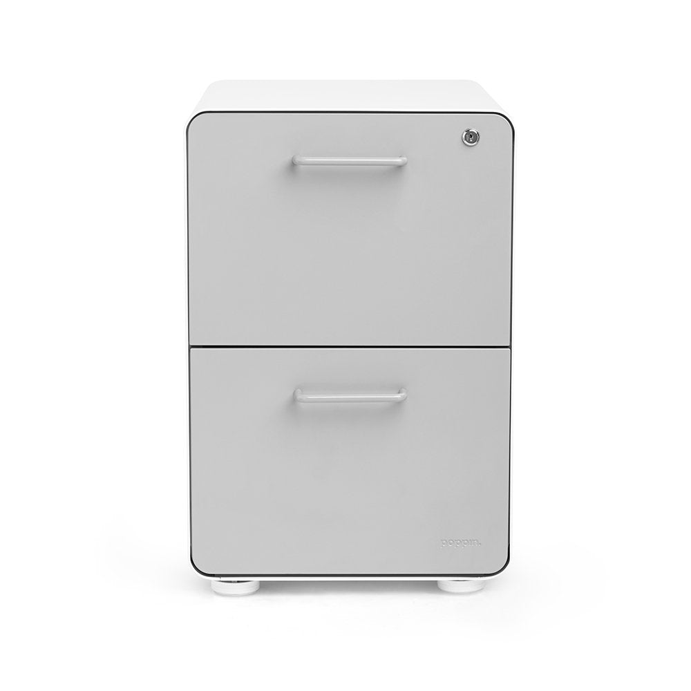 White + Light Gray 2-Drawer File Cabinet