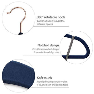 Bulk Non-Slip Hangers, Navy Velvet and Rose Gold - 50 Pack