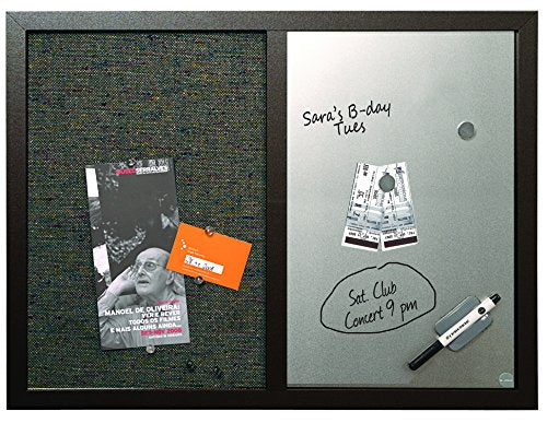Combo Dry Erase Whiteboard and Bulletin Board - Black Frame