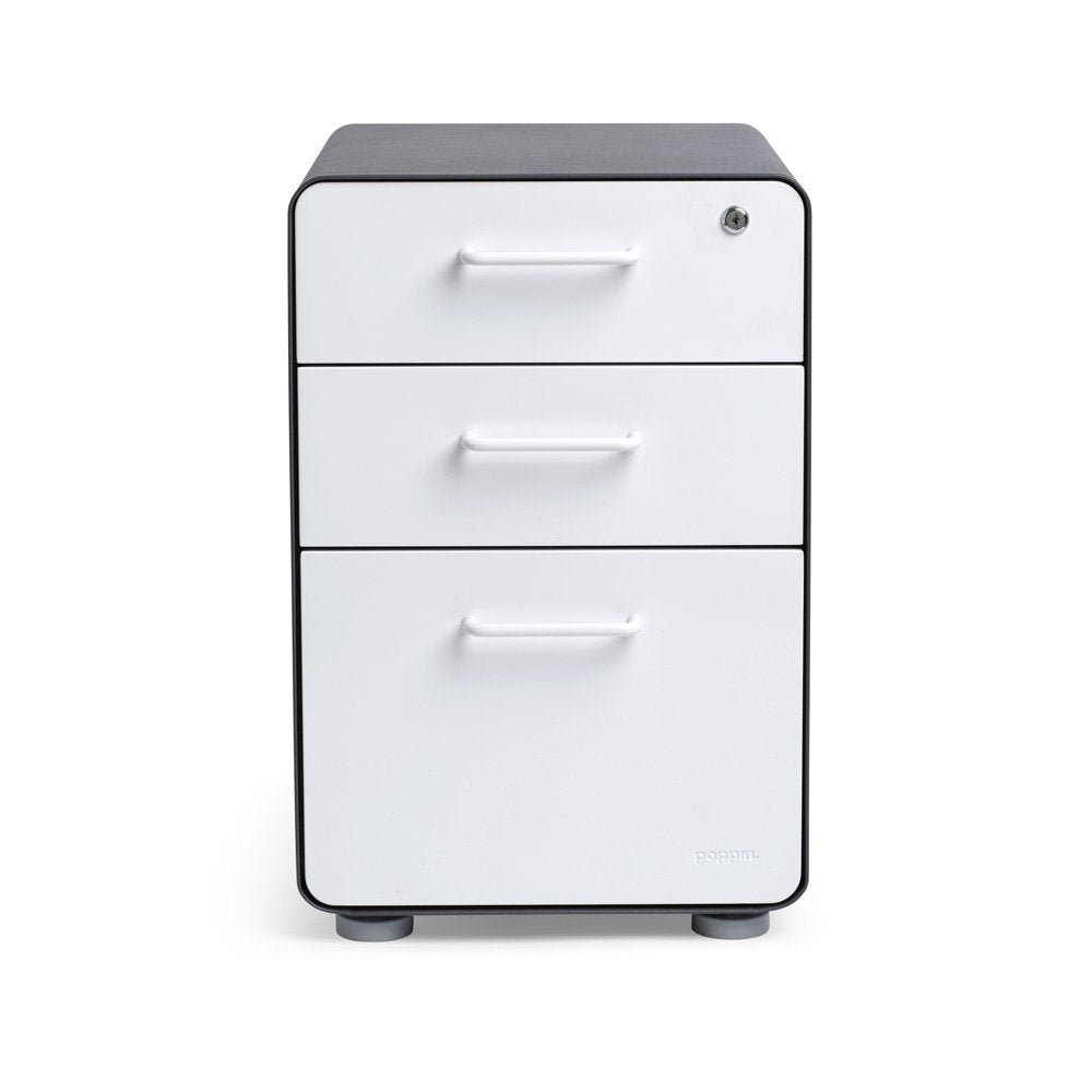 Charcoal + White 3-Drawer File Cabinet