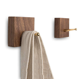 Natural Wood Brass Hooks, 3M Self Adhesive - 2 Pack
