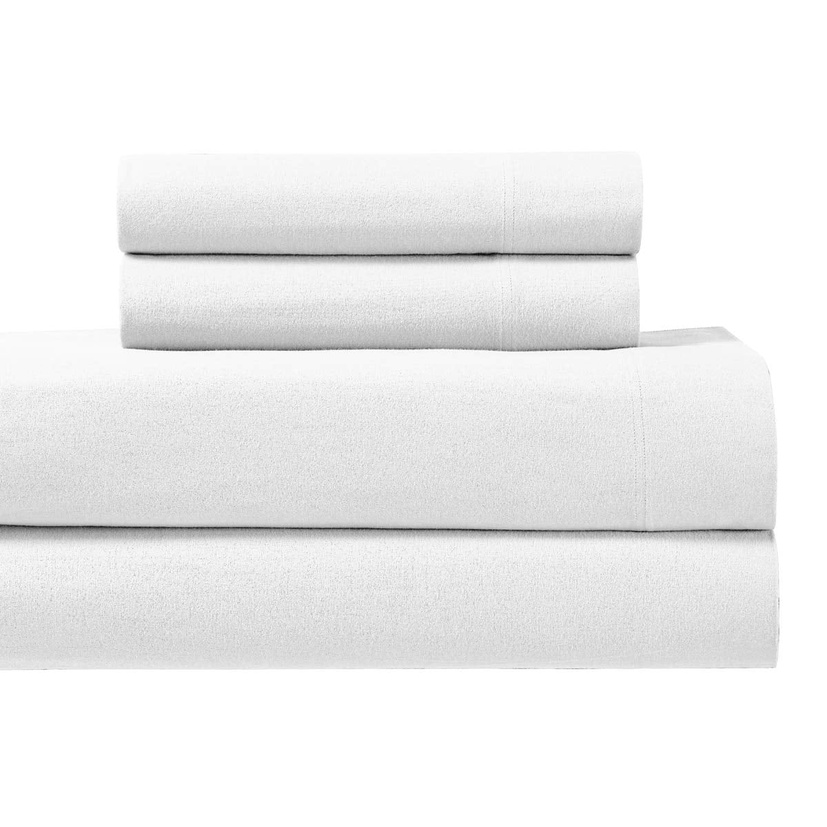 Royal Tradition Heavyweight Flannel, 100 Percent Cotton Twin XL 3PC Set -White