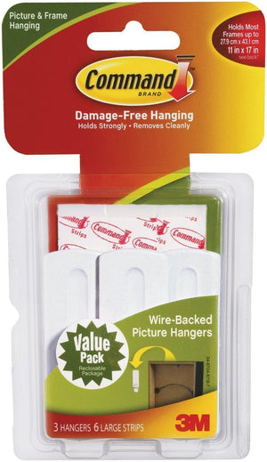 Command Wire-Back Hangers, Decorate Damage-Free, 3 hangers, 6 strips, Holds 5 lbs