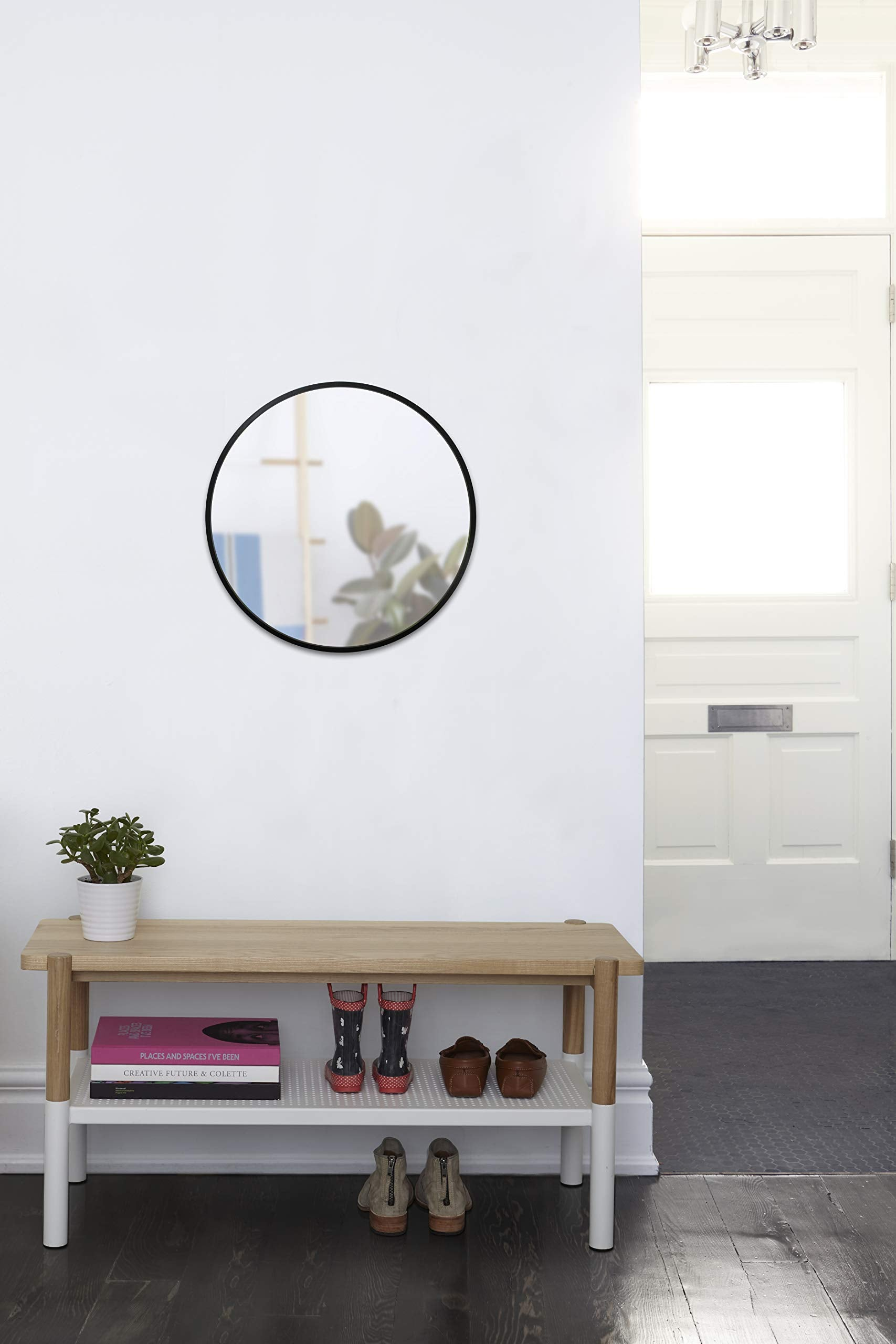 Hub Wall Mirror With Black Rubber Frame
