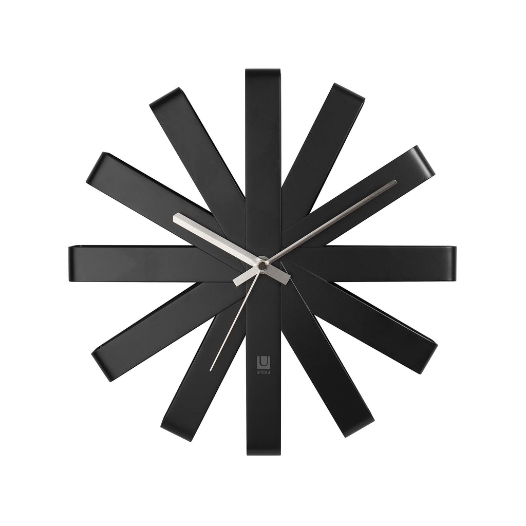 Ribbon Silent Non-Ticking Wall Clock - Black