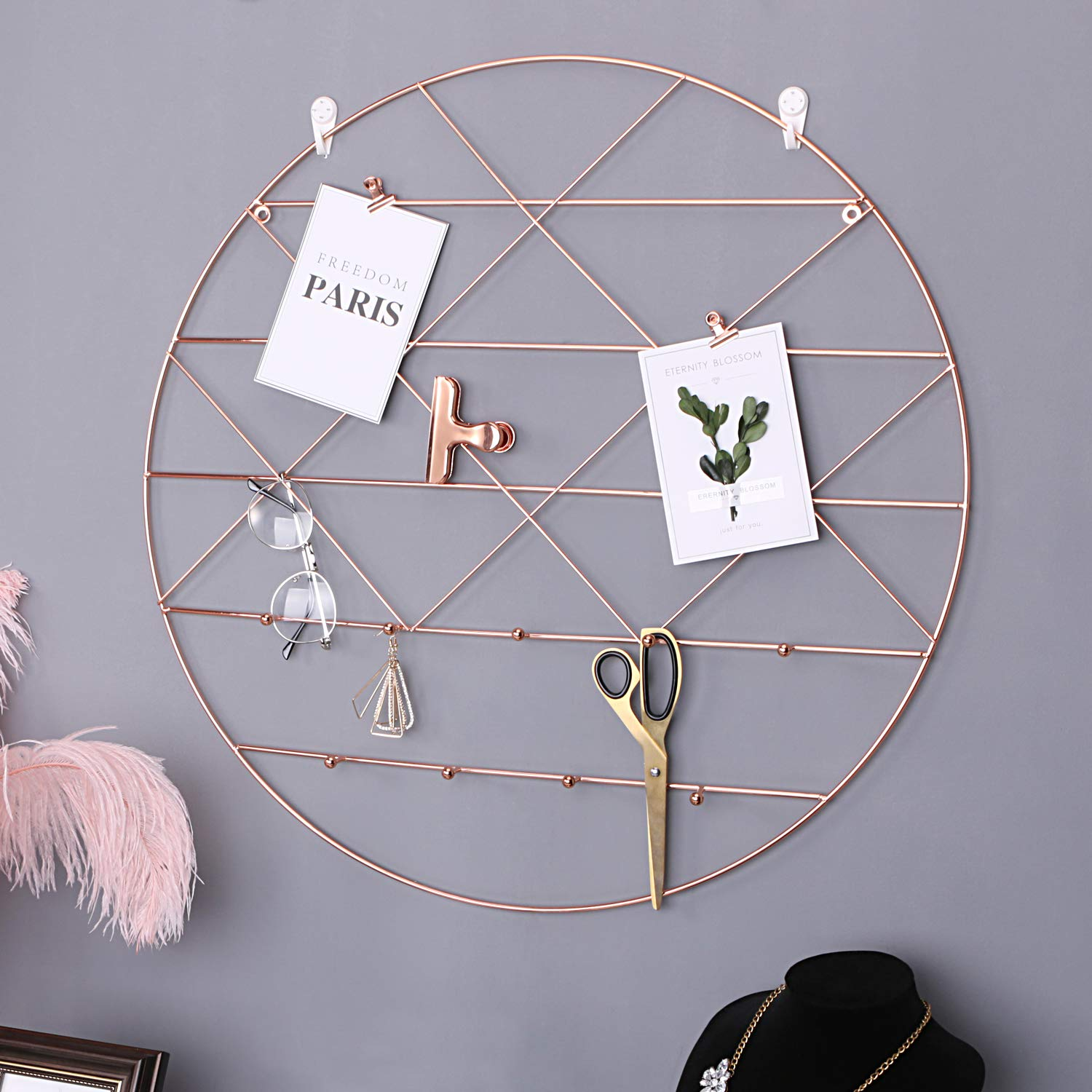 Round Wall Grid Panel - Rose Gold