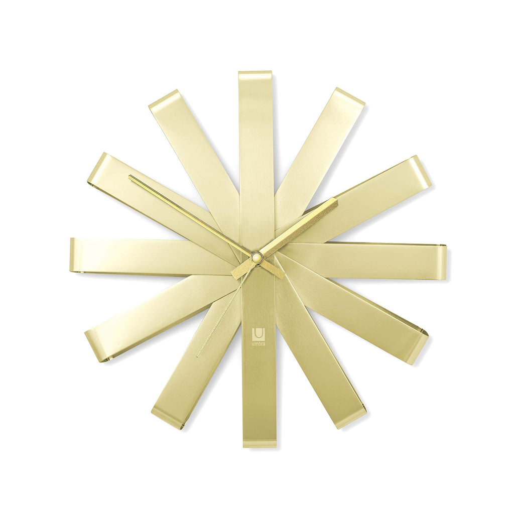 Ribbon Silent Non-Ticking Wall Clock - Gold