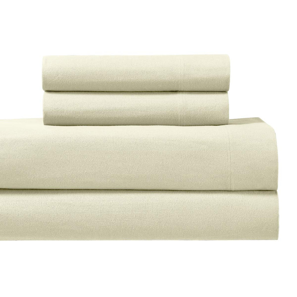 Royal Tradition Heavyweight Flannel, 100 Percent Cotton Twin XL 3PC Set - Ivory