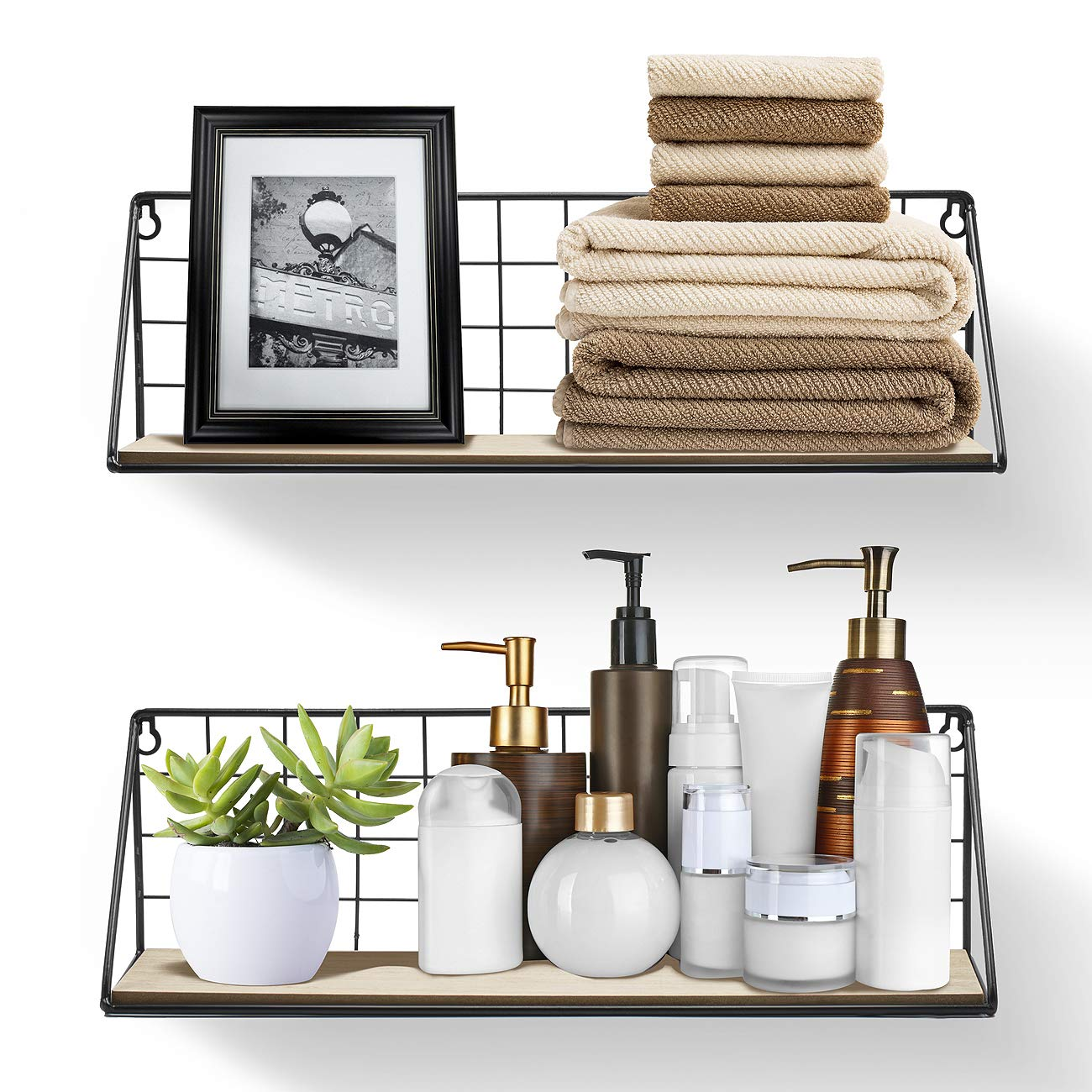 Wood and Metal Floating Shelves - 2 Pack