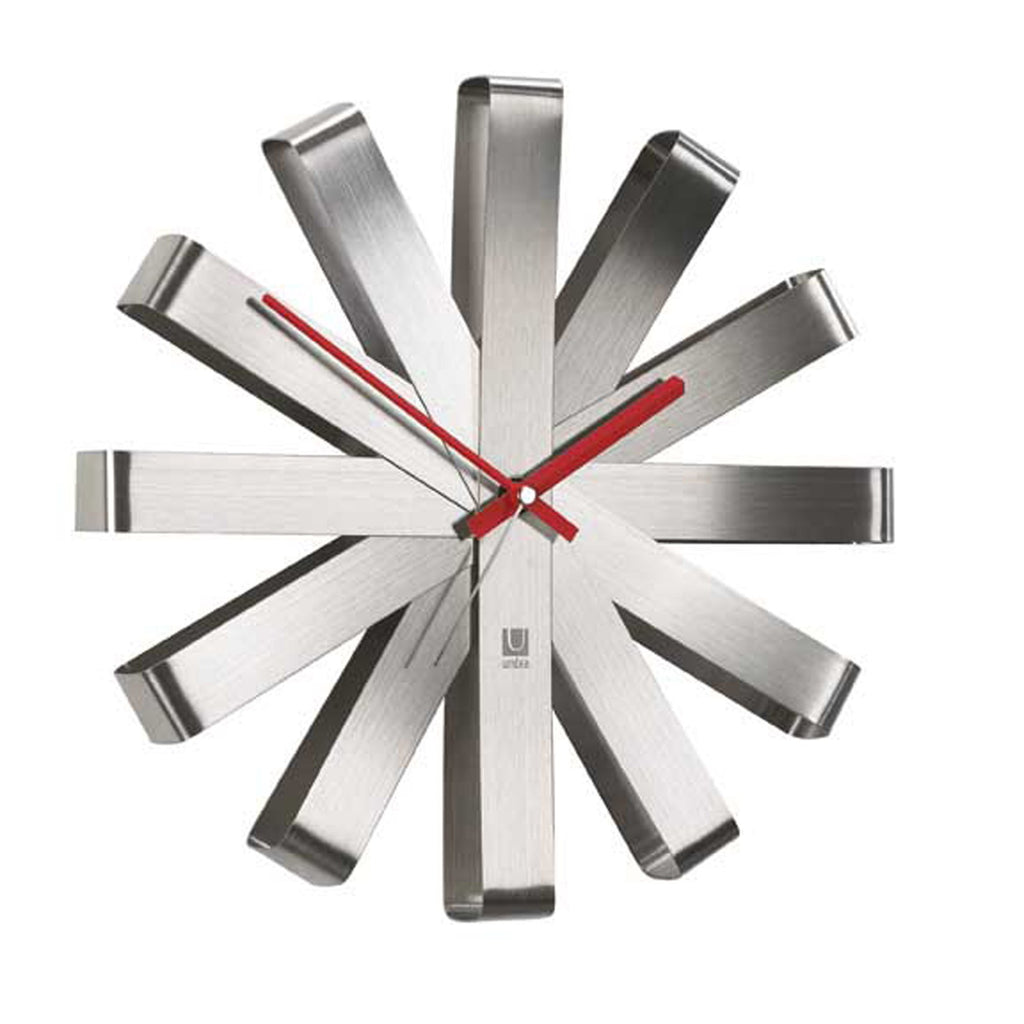 Ribbon Silent Non-Ticking Wall Clock - Silver
