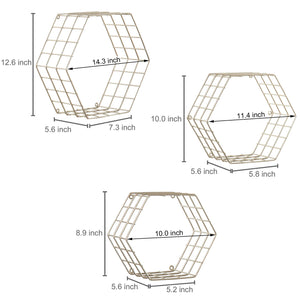 Hexagonal Brass-Tone Wire Wall-Mounted Hanging Shelves