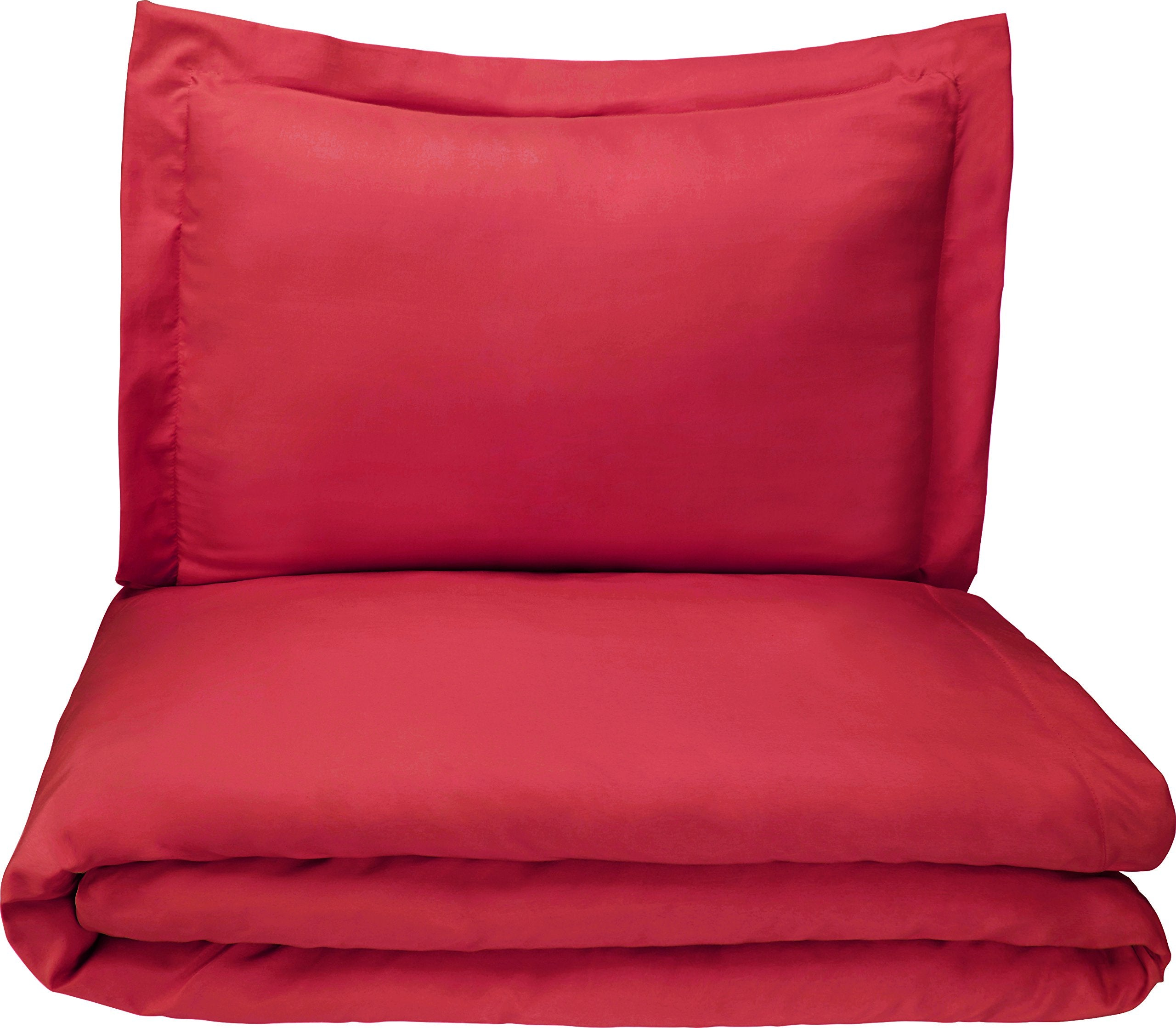 Microfiber Duvet Cover Set - Lightweight and Soft - Twin/Twin XL, Burgundy
