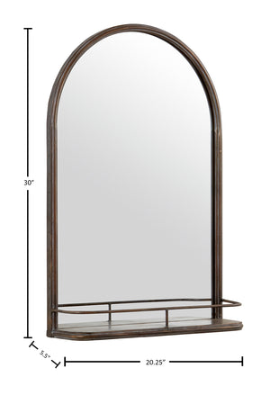 Modern Round Arc Iron Hanging Wall Mirror With Shelf