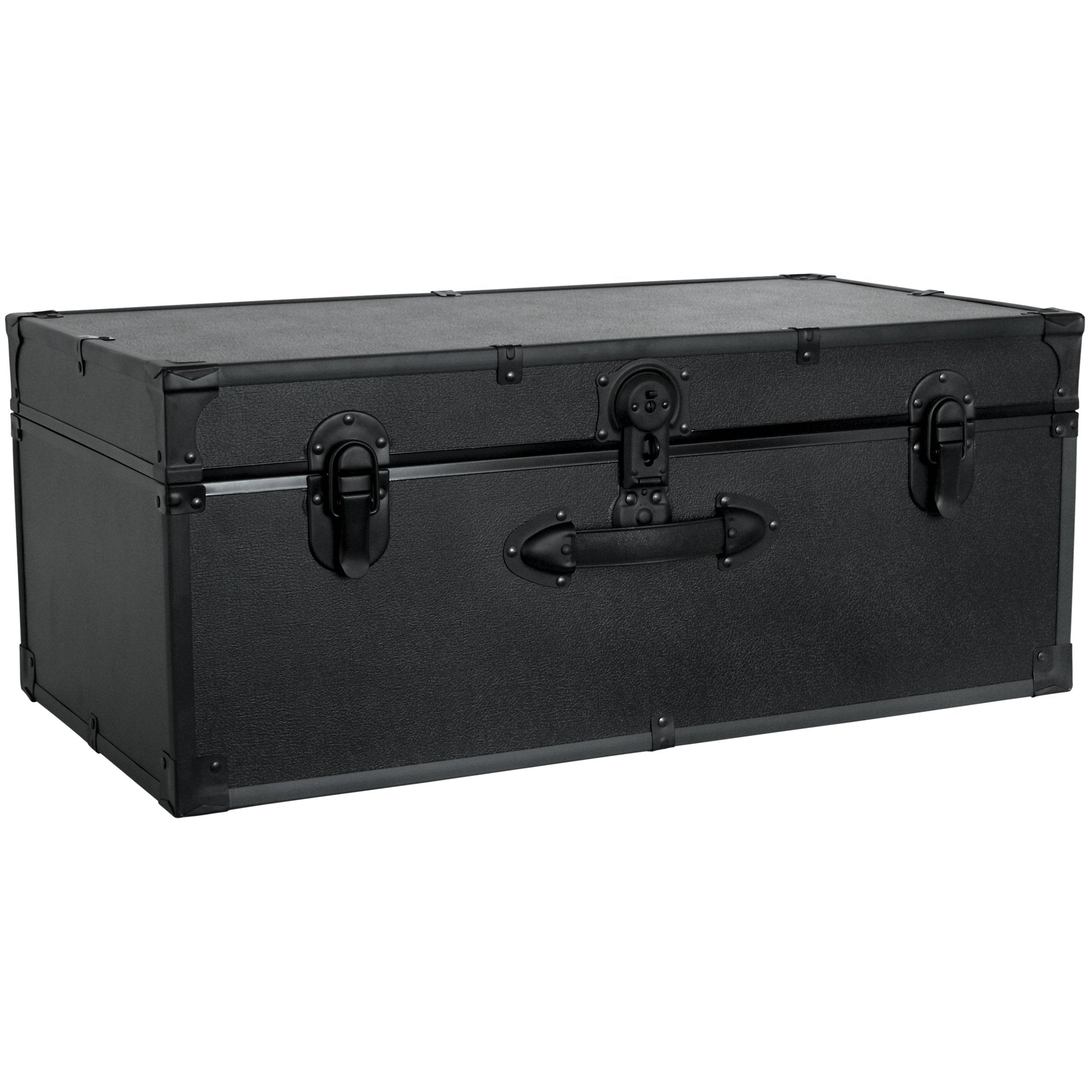 "Footlocker Trunk, 30"", Black Hardware, Black"