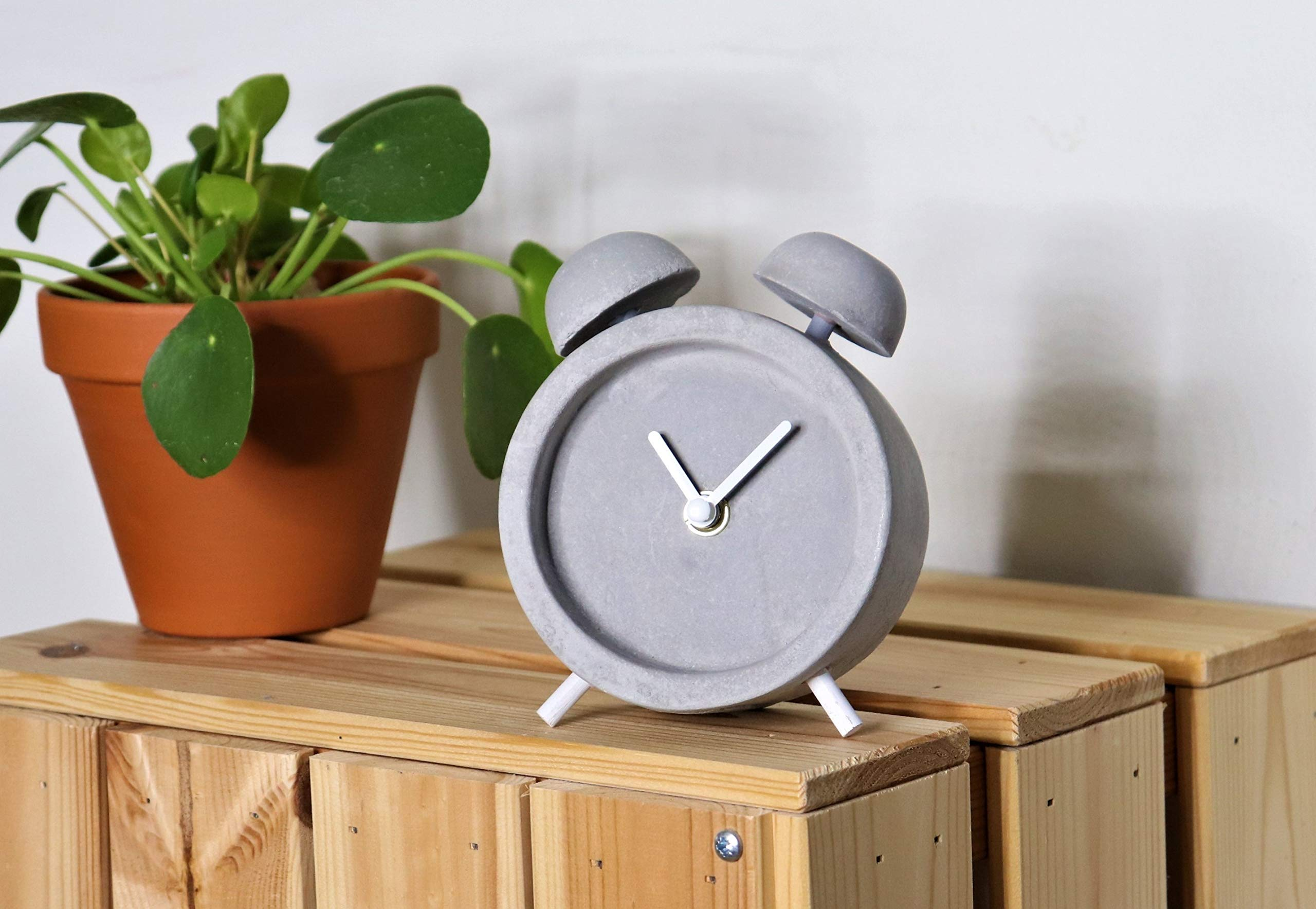 Driini Concrete Twin Bell Desk Clock