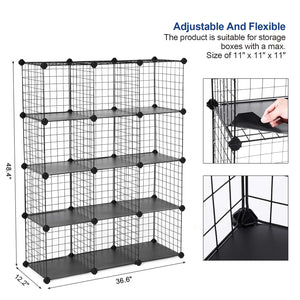 Modular Black Metal Wire Cube Storage ,12-Cubes