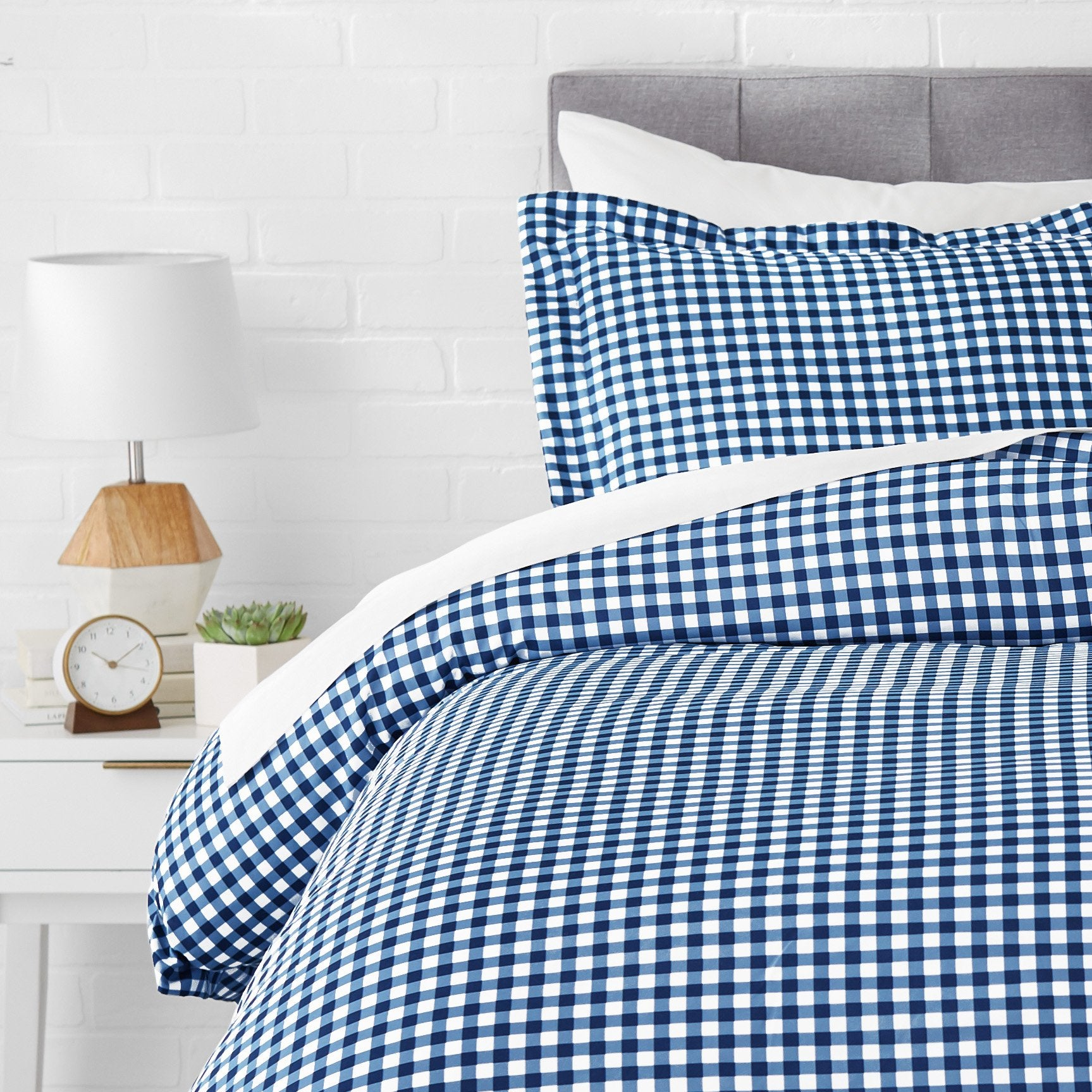 Microfiber Duvet Cover Set - Lightweight and Soft - Twin/Twin XL, Gingham Plaid