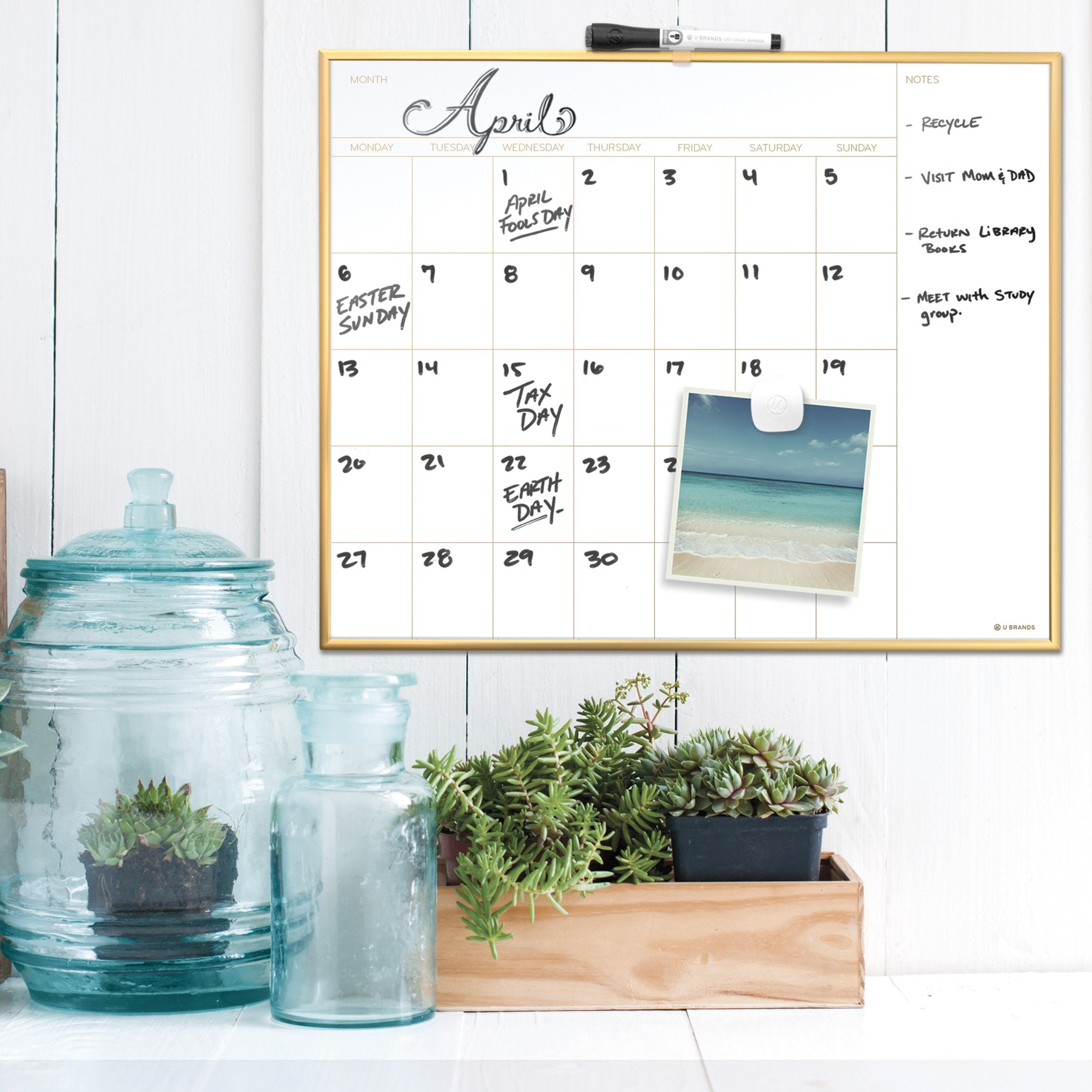 Magnetic Monthly Calendar Dry Erase Board, 20 x 16 Inches, Gold Aluminum Frame