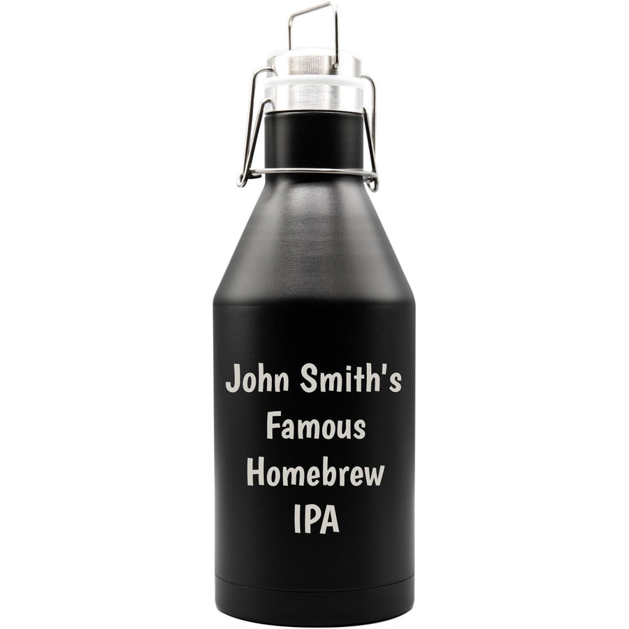 Growler - Black with Engraved Text