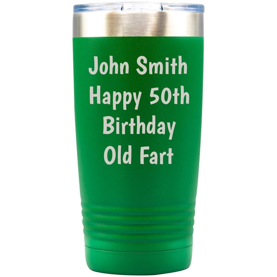 Tumbler - Green with Engraved Text