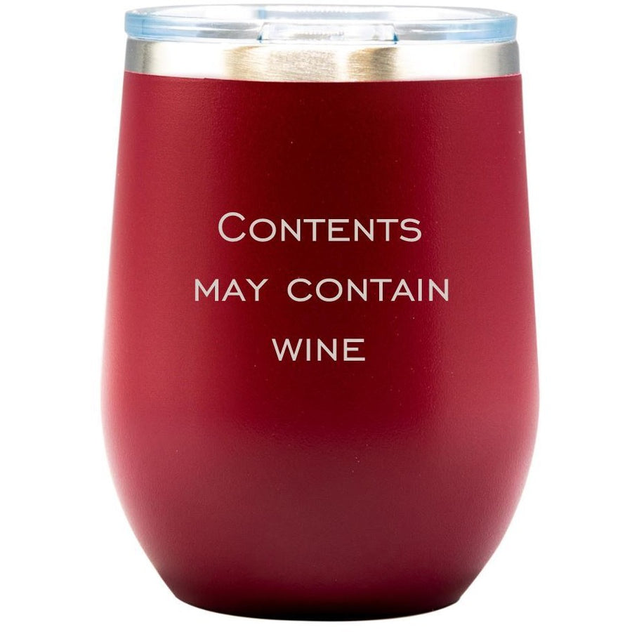 Wine Tumbler - Red with Engraved Text