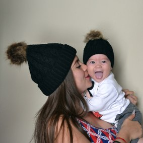 Image of Mommy & Me Matching Beanie Set