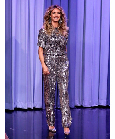 Heidi Klum America's Got Talent wearing a sparkling jumpsuit on the Tonight show