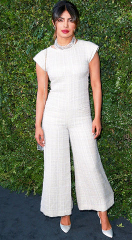 Priyanka Chopra wearing a tweed Chanel jumpsuit
