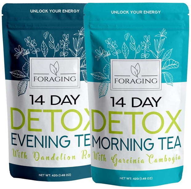 Foraging Detox Tea - 14 Day and Night Teatox - (28 Tea Bags) With Garcinia Cambogia & Dandelion Root For Weight Loss And Relaxin - Open Your heart boutique
