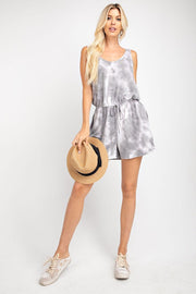 Take It Easy Tie Dye Gray Romper - Open Your heart boutique
