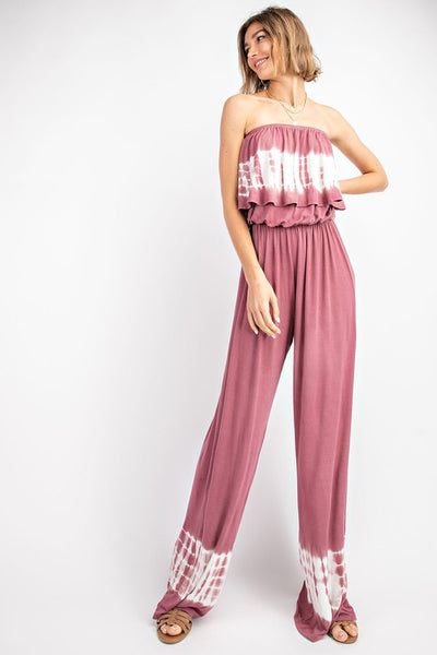 Let It Go Ruffle Mauve Tie Dye Wide-Leg Jumpsuit - Open Your heart boutique
